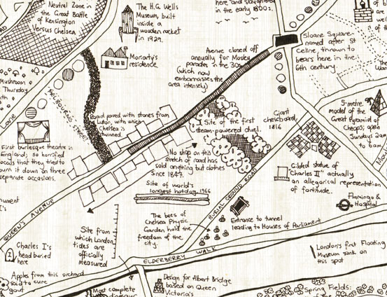 A hand-drawn map of part of Chelsea, with implausible annotations