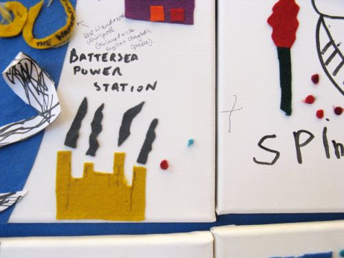 Close-up of the felt map, showing Battersea Power Station.